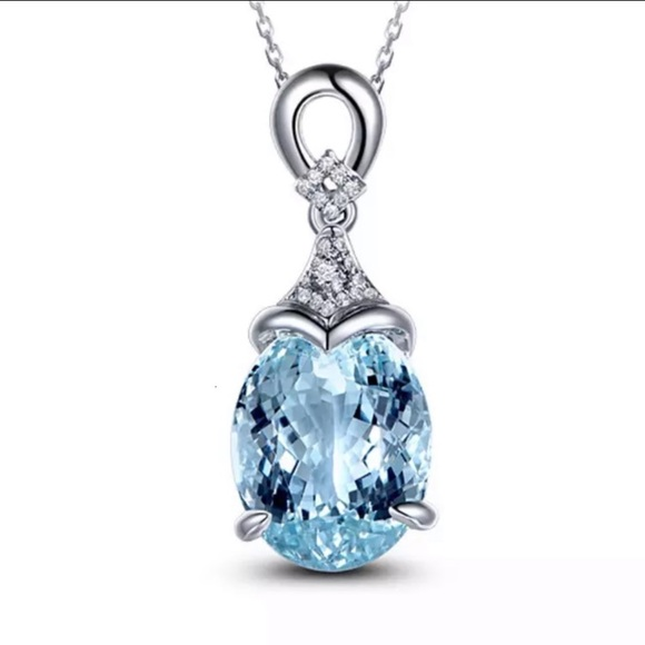 Jewelry - Aquamarine Sterling Silver CZ Necklace